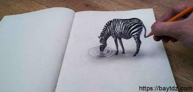 رسم ثلاثي الأبعاد بقلم الرصاص
