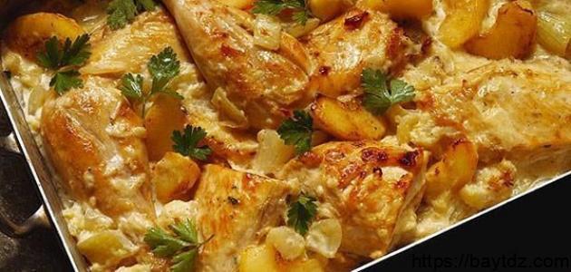 طريقة تحضير دجاج بالفرن مع بطاطا