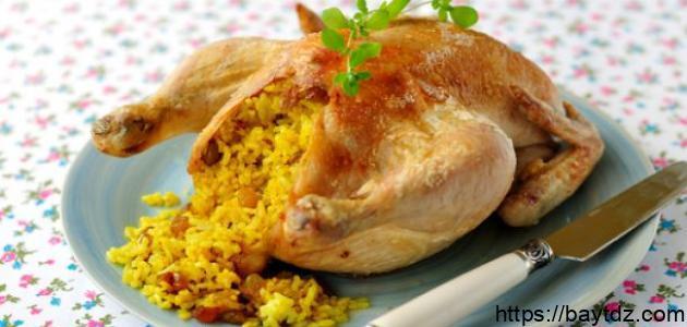 عمل دجاج محشي بالأرز