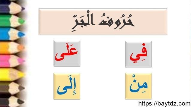 حروف الجر ومعانيها وامثلة عليها