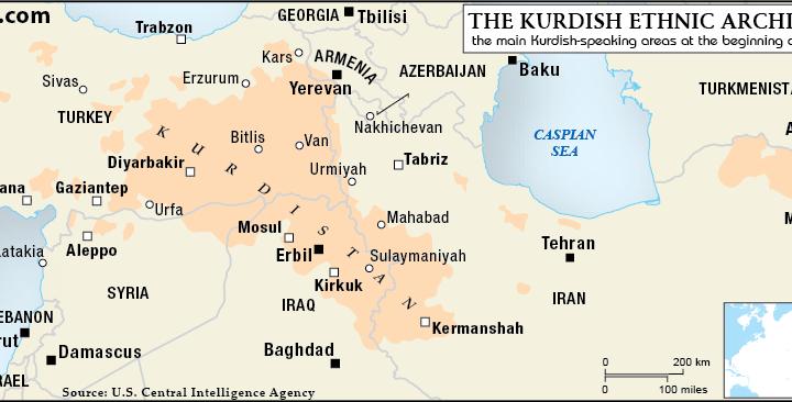 خريطة تواجد الاكراد في تركيا و عددهم