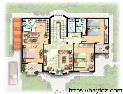 مخطط بيت دور واحد 300 متر